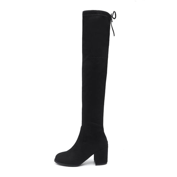 2018 Black Pointed Toe Women Thigh High Long Boots Back Lace Up Brand Designer Over The Knee Boots Ladies Thick Heels Nysiani - elatestore