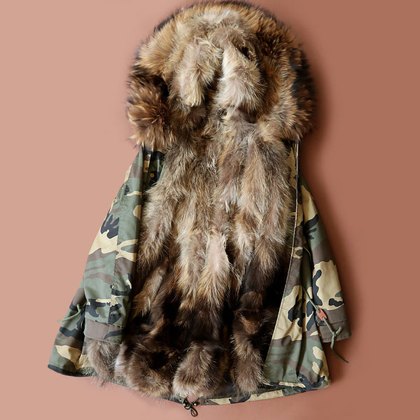 Warm Large Raccoon Fur Collar Hooded Coat Parkas Fur Lining Jacket-elatestore -elatestore