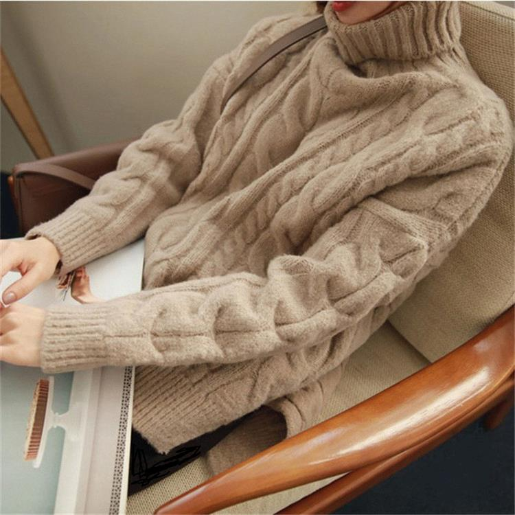 b64348dec8 ... Warm Women Pullover Turtleneck Jumper Long Thick Knitted Sweater- elatestore -elatestore ...