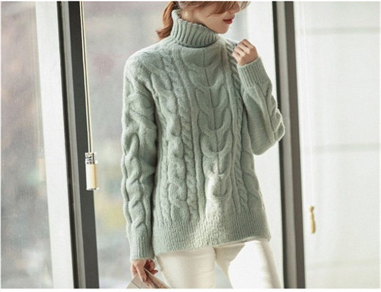 661e4fcc92 Warm Women Pullover Turtleneck Jumper Long Thick Knitted Sweater-elatestore  -elatestore