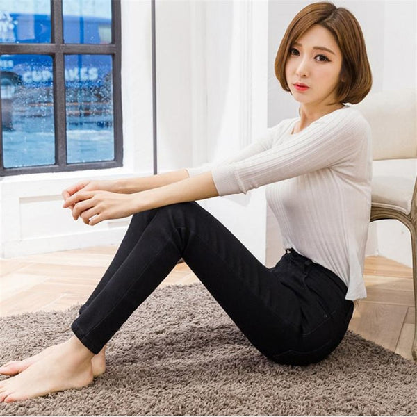 Women Warm Winter Cotton Gold Cashmere Skinny Slim Pencil Pants Jeans - elatestore