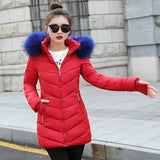 2018 New style Winter Jacket Women Coats Artificial collar Female Parka Thick Cotton Padded Lining Winter Coat Ladies S-3XXXL - elatestore