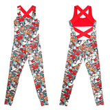 2018 One Piece Women Gym Sportwear Floral Print Workout Clothing Backless Yoga Set Jumpsuit Fitness Tight Dance Active Tracksuit - elatestore
