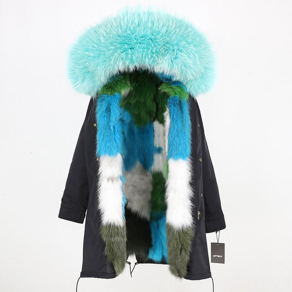 Real Fur Coat Long Parka Raccoon Fur Collar Hood Fox Fur Liner Jacket-elatestore -elatestore