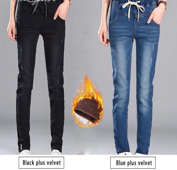Winter Women Warm Jeans High Waist Denim Slim Trousers Thick Stretch Pants-elatestore -elatestore