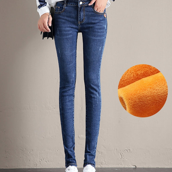 2018 Women's Jeans Winter Plus Velvet Thermal Trousers High Waist Straight Jeans Female Elasticity Denim Pencil Pants Plus Size - elatestore