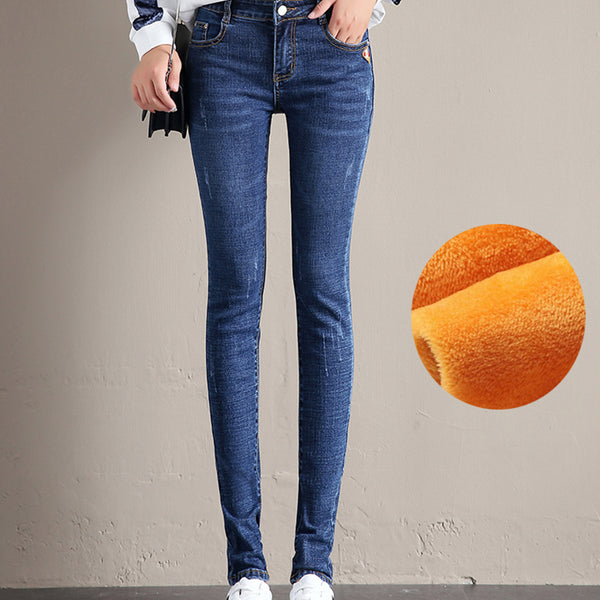 Velvet High Waist Straight Thermal Jeans Trousers Pencil Pants Denim-elatestore -elatestore