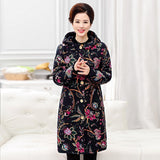 2018 new winter thick women trench coats floral retro long lady hooded coats velvet trench casaco feminino big plus size XL~6XL - elatestore