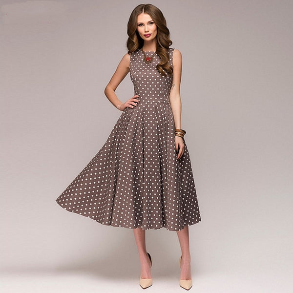 Polka Dot Sleeveless O Neck Elegant Casual Boho Midi Dress Vintage Party Dresses-elatestore-elatestore
