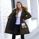 Warm Large Natural Raccoon Fur Collar Jacket White Duck Parkas Coat-elatestore-elatestore