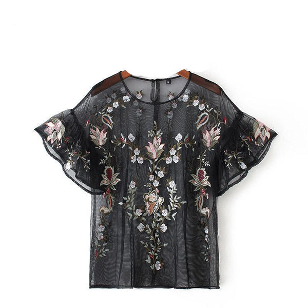Women Sexy Flower Embroidery Ruffles Mesh Shirts See Through Transparent Short Sleeve Blouse Ladies Casual Tops-elatestore-elatestore