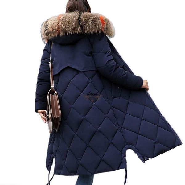 Warm Winter Jacket Large Fur Hooded Coat Long Insulated Down Cotton Parkas-elatestore-elatestore