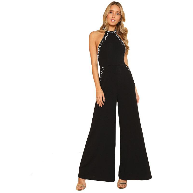 9b0c92dd5c9c Shein Pearl Decorated backless Halter wide leg of a bodysuit of black color  sleeveless high Waist Ordinary Maxi women s elegant overalls
