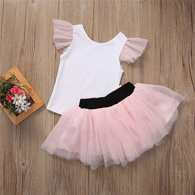 2pcs Fashion Mother Daughter Women Kid Girls Summer T Shirt+bow Tulle Skirt Outfits Summer Clothes Costume - elatestore