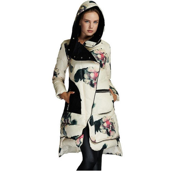 Women Floral Print White Duck Down Parka Jacket Winter Coat-elatestore-elatestore