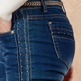 Light Washed Elastic Side Embroidery Long Straight Casual Jeans-elatestore-elatestore