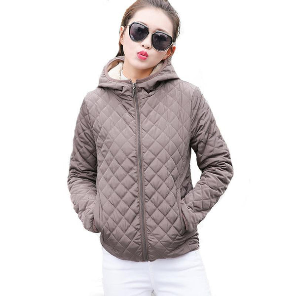 Elegant Warn Parkas basic jackets Female Women Winter plus velvet lamb hooded Coats Cotton  Winter Jacket Womens Outwear coat - elatestore