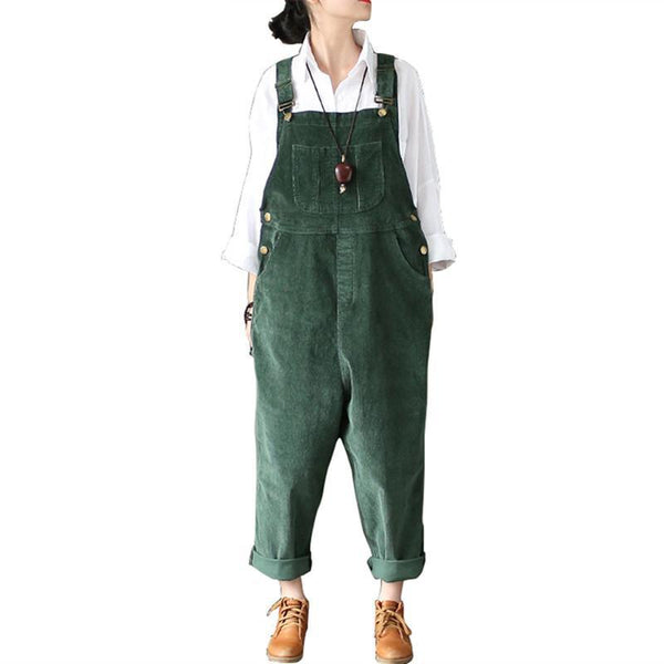 Women Loose Strap Thick Warm Pants Vintage Big Pocket Casual Jumpsuit - elatestore