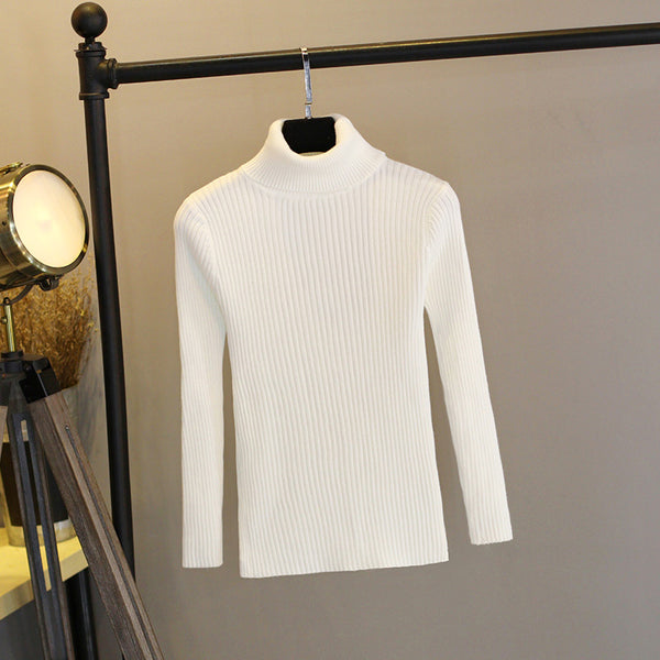 Women Knitted Ribbed Pullover Warm Thick Long Sleeve Turtleneck Sweater - elatestore