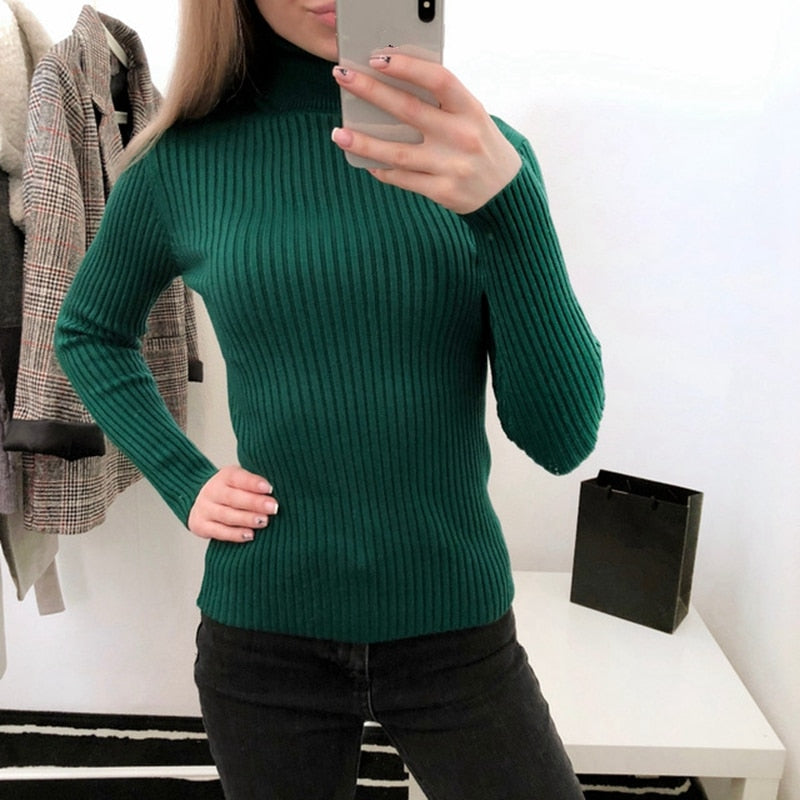 0184eb1aa2 ... Women Knitted Ribbed Pullover Warm Thick Long Sleeve Turtleneck Sweater- elatestore -elatestore ...