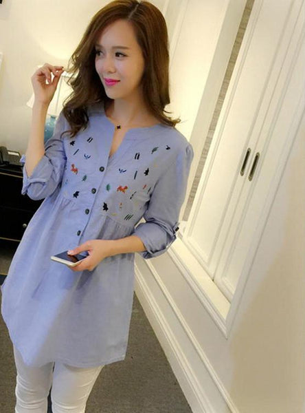 BAHEMAMI Pleated Embroidery Cotton Maternity Shirt Spring & Autumn Blouse Tops Clothes for Pregnant Women Pregnancy Clothin