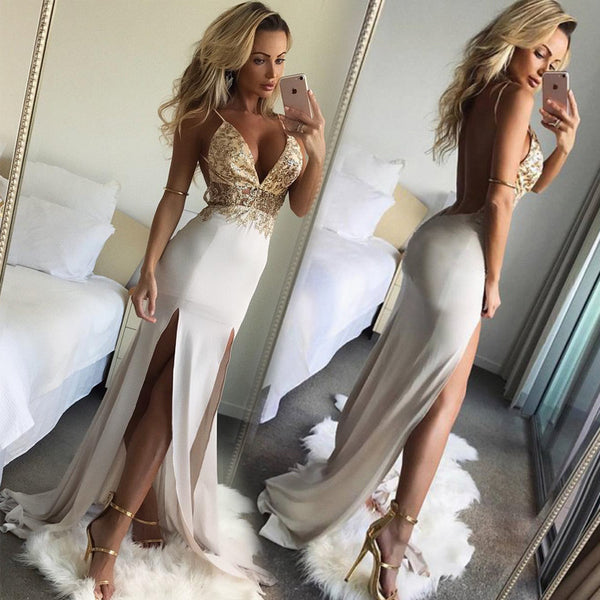 BIMIDNEGB Sexy Lace Up Club Party Dresses Women Backless High Split Maxi Dress Ladies Christmas 2018 Long Elegant Dress Vestidos - elatestore