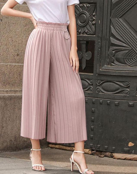 Bella Philosophy 2017 pants women spring summer linen pleated stretchy waist wide leg pants autumn high waist wide leg pants - elatestore