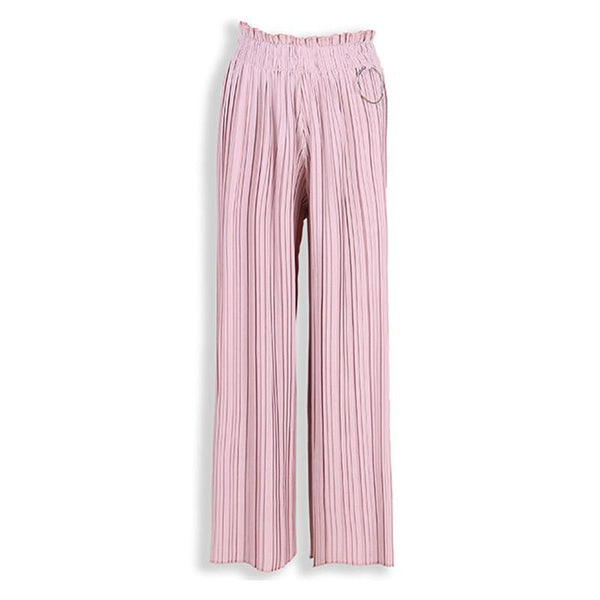 Women Linen Pleated Stretchy Waist Wide Leg Pants High Waist Trousers-elatestore-elatestore