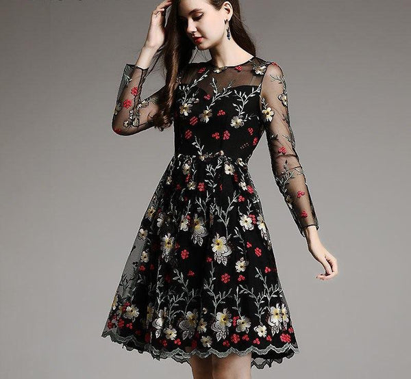 Women Lace Retro Floral Embroidery Vintage Dress-elatestore -elatestore