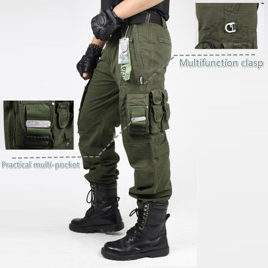 e704057596a Men s Camouflage Knee Pad Military Combat Straight Army Trousers ...