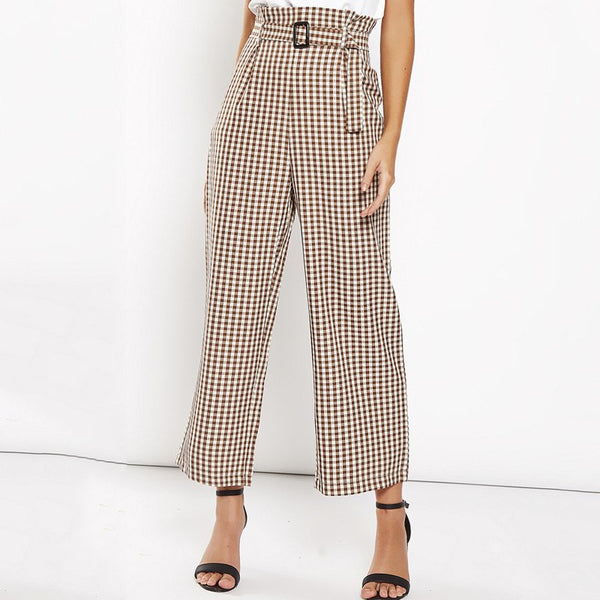 Wide Leg Plaid High Waist Pants Full Length Trousers Sashes Pantalon