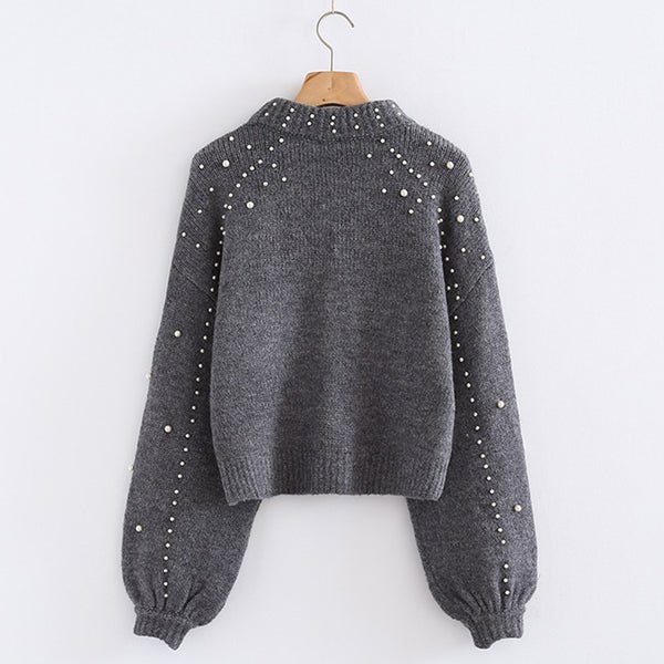 Casual Warm Soft Knitted Sweaters Pearl Beading Jumper Loose Pullover - elatestore
