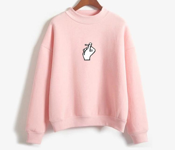 Casual Women Hoodies Sweatshirt 2017 Winter Autumn Thicken Harajuku Kawaii Gesture Print Sudaderas Mujer Long Sleeve Pullovers