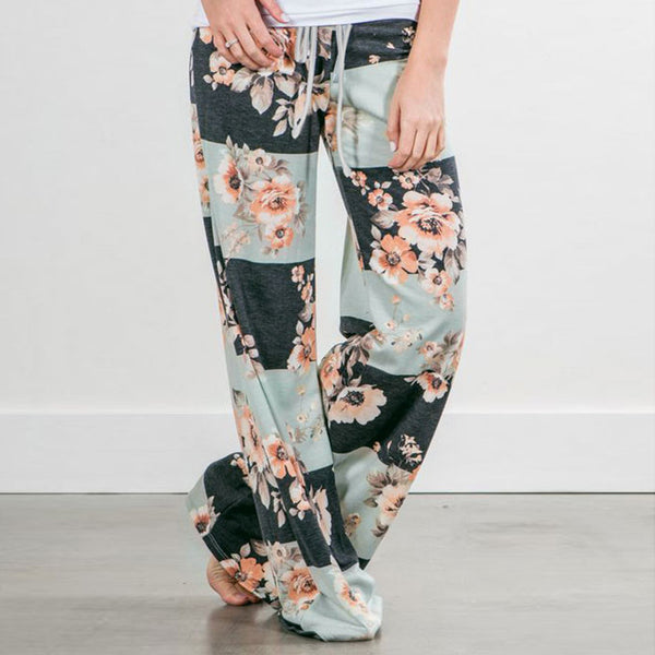 2fada8a6ed5 ... Causal Women Autumn Flower Print Pants 2017 Drawstring Wide Leg Pants  Loose Straight Trousers Long Female