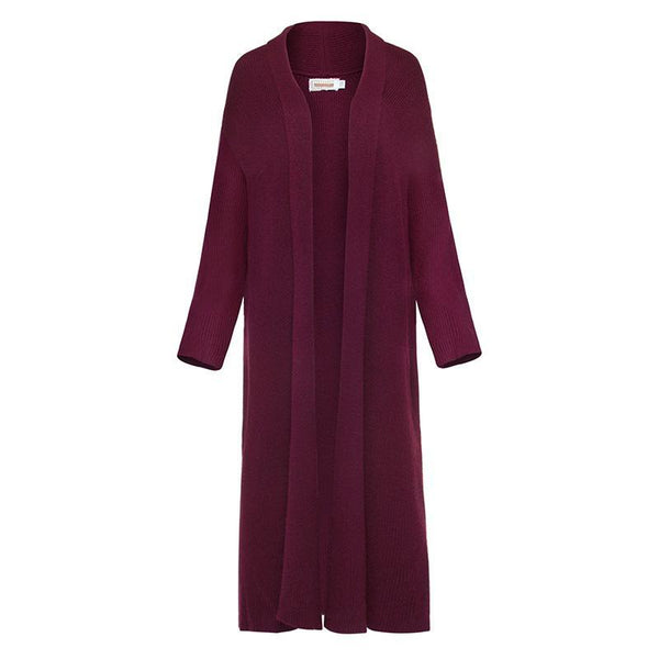 Women Slim Casual Long Knitted Coat Cashmere Cardigan-elatestore-elatestore