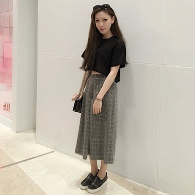 Women Sexy Trousers Casual Capris Plaid Loose Wide Leg Pants-elatestore-elatestore