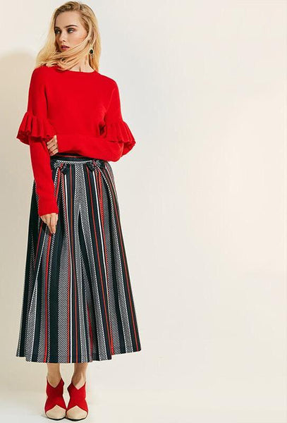 Loose Wide Leg Striped Ankle Length Bowknot Pants High Waist Trousers