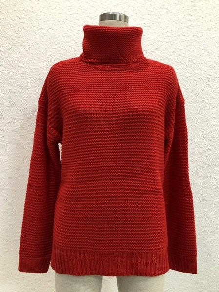 Women's Warm Jumper Thick Coarse Pullover Turtleneck Sweater-elatestore -elatestore