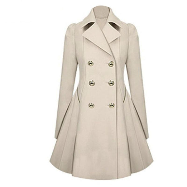 Fashion Women Long Coat Lapel Neck Outwear Winter Warm Trench  Coats - elatestore