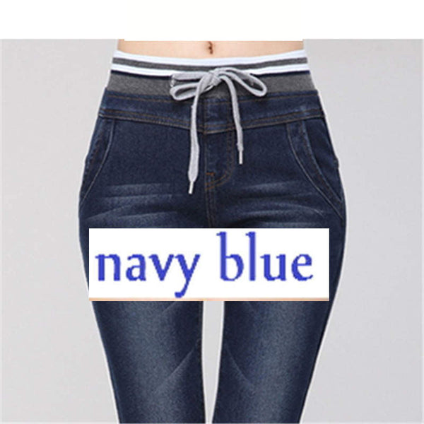 Women Cashmere Warm Jeans Large Size High Elastic Waist Denim-elatestore -elatestore