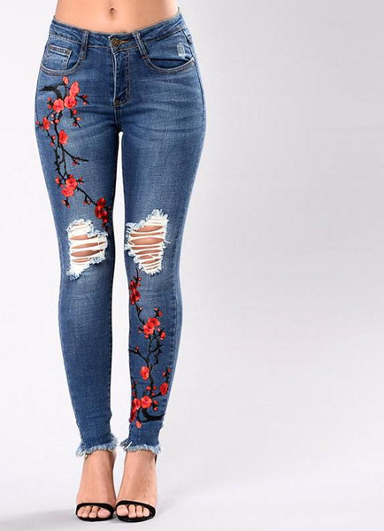 Embroidery high waist woman's jeans skinny Vintage Ripped freddy pants Stretch pencil female bottom Elastic Denim trousers mujer - elatestore