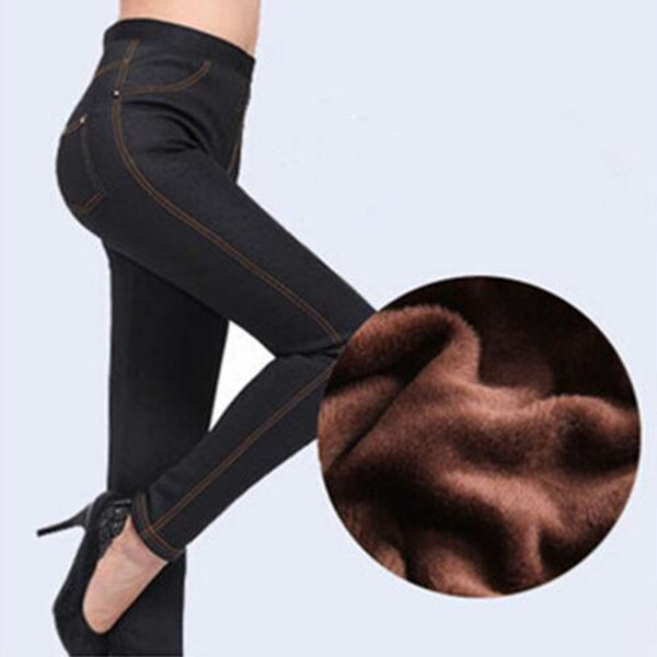 Women Warm Winter Trousers Solid Thick Fleece Jeans Pencil Denim Pants-elatestore -elatestore