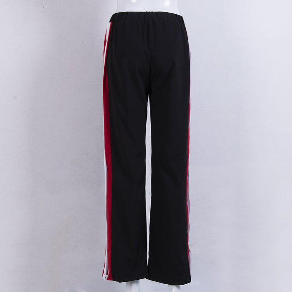 Fashion Womens Split Side Buttons Wide Leg Jogger Casual Long Pants Trousers - elatestore