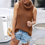 Sexy Turndown High Collar Knitted Warm Casual Sleeveless Sweater-elatestore -elatestore
