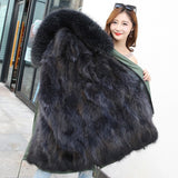 Fashion women's army green Large real raccoon fur hooded warm coat parkas outwear natural fox fur lined winter jacket two styles - elatestore