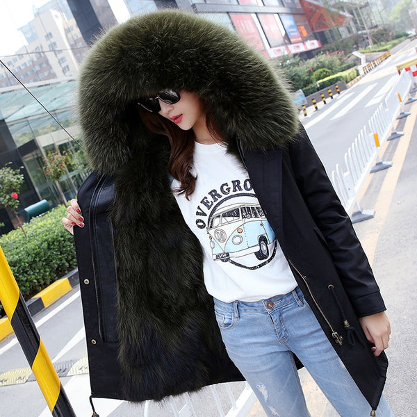 Natali Large Real Raccoon Fur Hooded Fox Fur Lined Warm Coat Parkas-elatestore -elatestore
