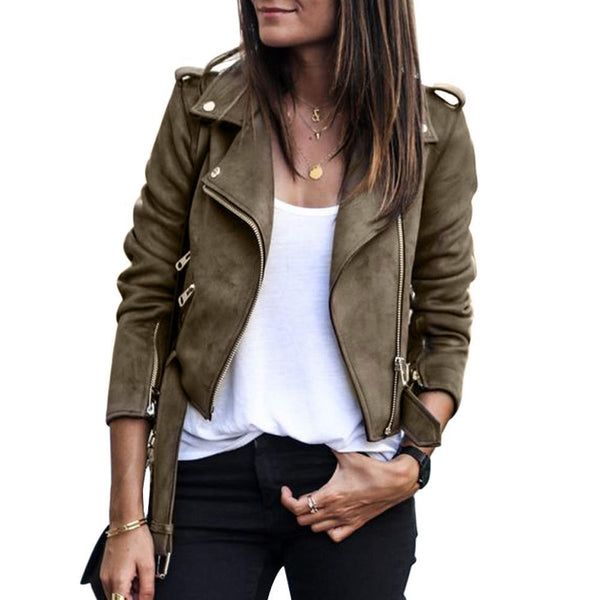 Faux Leather Suede Jackets Women Short Slim Basic Jackets Female Long Sleeve Coat Cool Motorcycle Streetwear - elatestore