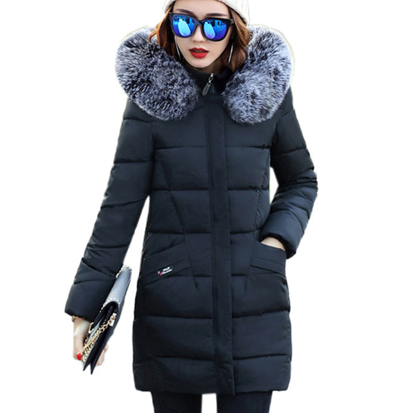 Fur collar Hooded Cotton Padded Coat Large size Winter Women parka New 2017 Long section Slim Outerwear Thicker warm overcoatXC7