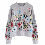 Women Fashion Round Collar Full Sleeve Loose Embroidered Sweater-elatestore-elatestore