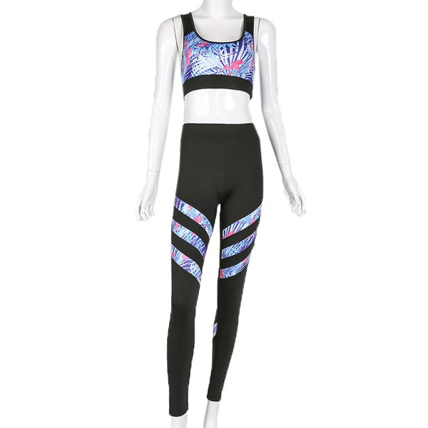 Ursula Yoga Stripes Bra and Tights Set Sports Suit-elatestore -elatestore